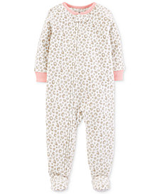 Carter's Toddler Girls Leopard-Print Footed Pajamas