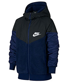 Nike Big Boys Sportswear Hooded Windrunner Faux-Sherpa Jacket