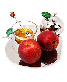 Classic Touch Nickel Apple Honey Pot and Tray