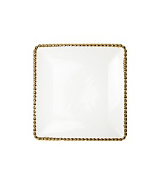 Classic Touch Set of 4 Porcelian Plates With Gold Beaded Design