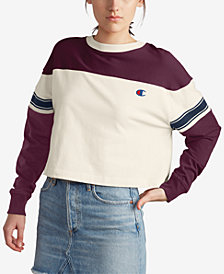 Champion Cotton Colorblocked Cropped T-Shirt