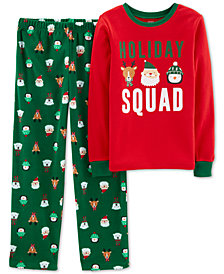 Carter's Little & Big Boys Fleece Holiday Squad Pajamas