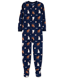 Carter's Little & Big Boys Dog-Print Footed Fleece Pajamas