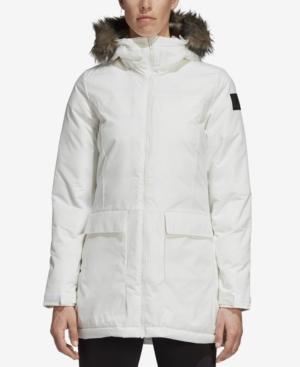 Adidas Originals Adidas Xploric Water-Repellent Faux-Fur Trim Parka In Core  White 37289422675a5