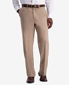 Haggar Men's Premium Comfort Stretch Classic-Fit Solid Flat Front Dress Pants