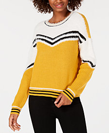 Oh!MG Juniors' Eyelash-Trim Striped Sweater