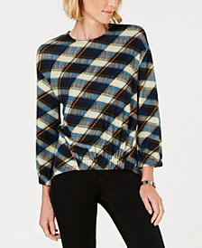 John Paul Richard Petite Plaid Knit Shirt