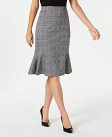NY Collection Petite Plaid Flounce-Hem Skirt