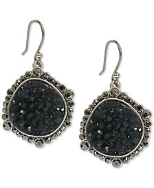 Lucky Brand Silver-Tone Pavé & Druzy Stone Drop Earrings