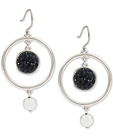 Lucky Brand Silver-Tone Druzy Stone & Imitation Pearl Drop Earrings