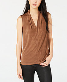 Bar III Pleated-Neck Shell, Created for Macy's