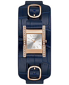 GUESS Women's Blue Leather Cuff Strap Watch 22x24mm
