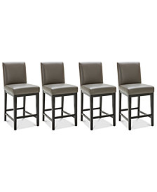 Tate Leather Parsons Stool, 4-Pc. Set (4 Graphite Counter Stools)