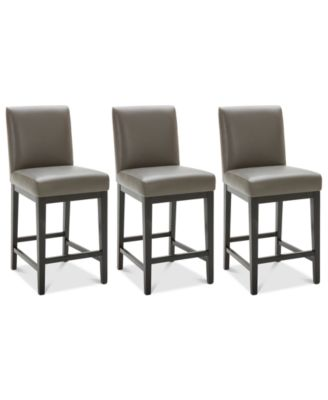 Tate Leather Parsons Stool, 3-Pc. Set (3 Graphite Counter Stools)