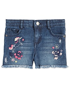 Little Girls Embroidered Unicorn Denim Shorts, Created for Macy's