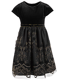 Good Lad Little Girls Velvet Glitter Party Dress