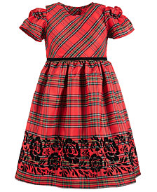 Good Lad Little Girls Plaid Flocked Dress