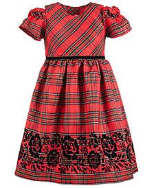 Good Lad Toddler Girls Plaid Flocked Dress