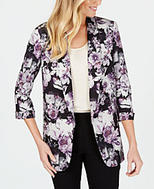 Nine West Printed 3/4-Sleeve Blazer