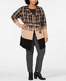 Belldini Black Label Plus Size Ombré Plaid Trench Cardigan