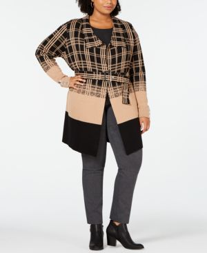 BELLDINI Black Label Plus Size Ombre Plaid Trench Cardigan in Iced Latte/Black