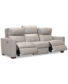 "Clynton 88"" Leather Dual Power Sofa with USB Power Outlet"