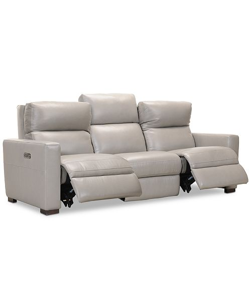 Clynton 88 Leather Dual Power Sofa with USB Power Outlet