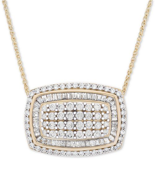 """Wrapped in Love Diamond Cluster 18"""" Pendant Necklace (2 ct. t.w.) in 14k Gold"""