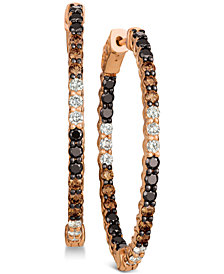 Le Vian® Chocolate Layer Cake™ Blackberry Diamonds® , Chocolate Diamonds® & Nude Diamonds™ In & Out Hoop Earrings (2-9/10 ct. t.w.) in 14k Rose Gold