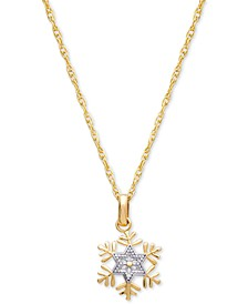 "Children's Two-Tone Frozen Snowflake 15"" Pendant Necklace in 14k Gold"