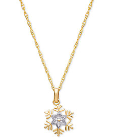 "Disney© Children's Two-Tone Frozen Snowflake 15"" Pendant Necklace in 14k Gold"