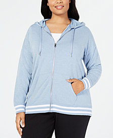 Ideology Plus Size Varsity-Stripe Zip Hoodie, Created for Macy's