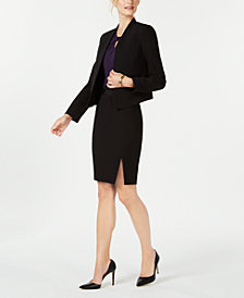 Nine West Open-Front Jacket, Keyhole Shell & Belted Skirt