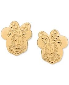 Disney© Children's Minnie Mouse Head Stud Earrings in 14k Gold