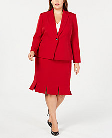 Kasper Plus Size Blazer & Pleated-Hem Skirt