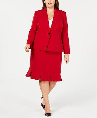Kasper Plus Size Blazer Pleated Hem Skirt Wear To Work Women