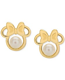 Disney© Children's Cultured Freshwater Pearl (4mm) Minnie Mouse Stud Earrings in 14k Gold