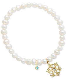 Disney© Children's Cultured Freshwater Pearl (4mm) & 14k Snowflake Charm Stretch Bracelet