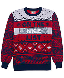 Naughty-Nice List Men's Reversible Sequin Sweater