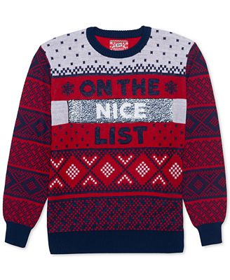 Hybrid Naughty Nice List Mens Reversible Sequin Sweater Sweaters