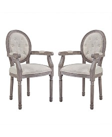 Modway Arise Vintage French Upholstered Fabric Dining Armchair Set of 2