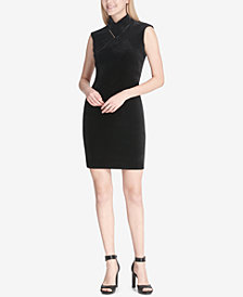 Calvin Klein Mock-Neck Velvet Sheath Dress