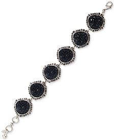 Lucky Brand Silver-Tone Pavé & Druzy Stone Link Bracelet