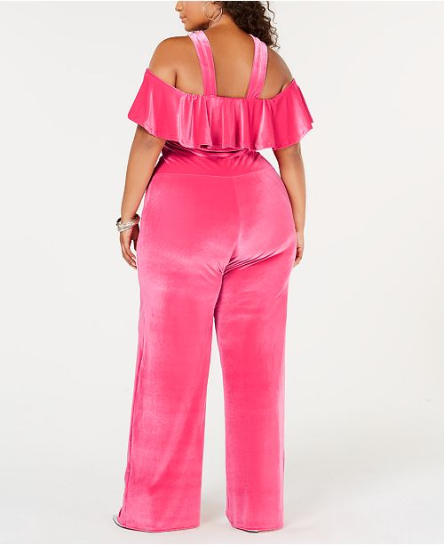 11167af9 Rebdolls Plus Size Ruffled Widel-Leg Velvet Jumpsuit from The Workshop at  Macy's ...