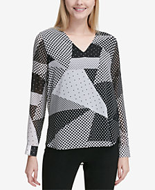 Calvin Klein Printed V-Neck Top