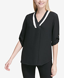 Calvin Klein Contrast-Neck Roll-Tab-Sleeve Top