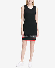 Calvin Klein Varsity-Stripe Logo Sheath Dress