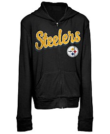 5th & Ocean Pittsburgh Steelers Sweater Full-Zip Hoodie, Girls (4-16)