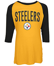 5th & Ocean Pittsburgh Steelers Raglan T-Shirt, Girls (4-16)