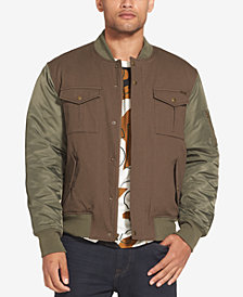 Sean John Men's Mixed Media Bomber Jacket